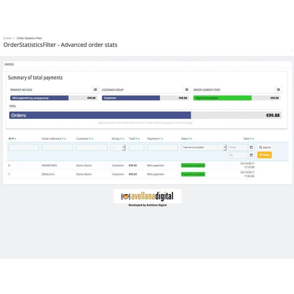 module - Informes y Estadísticas - Filtro de estadísticas de pedidos - 3