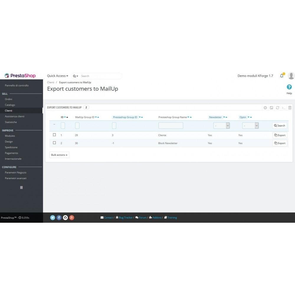module - Newsletter & SMS - MailUp - Export e sincronizzazione clienti - 2