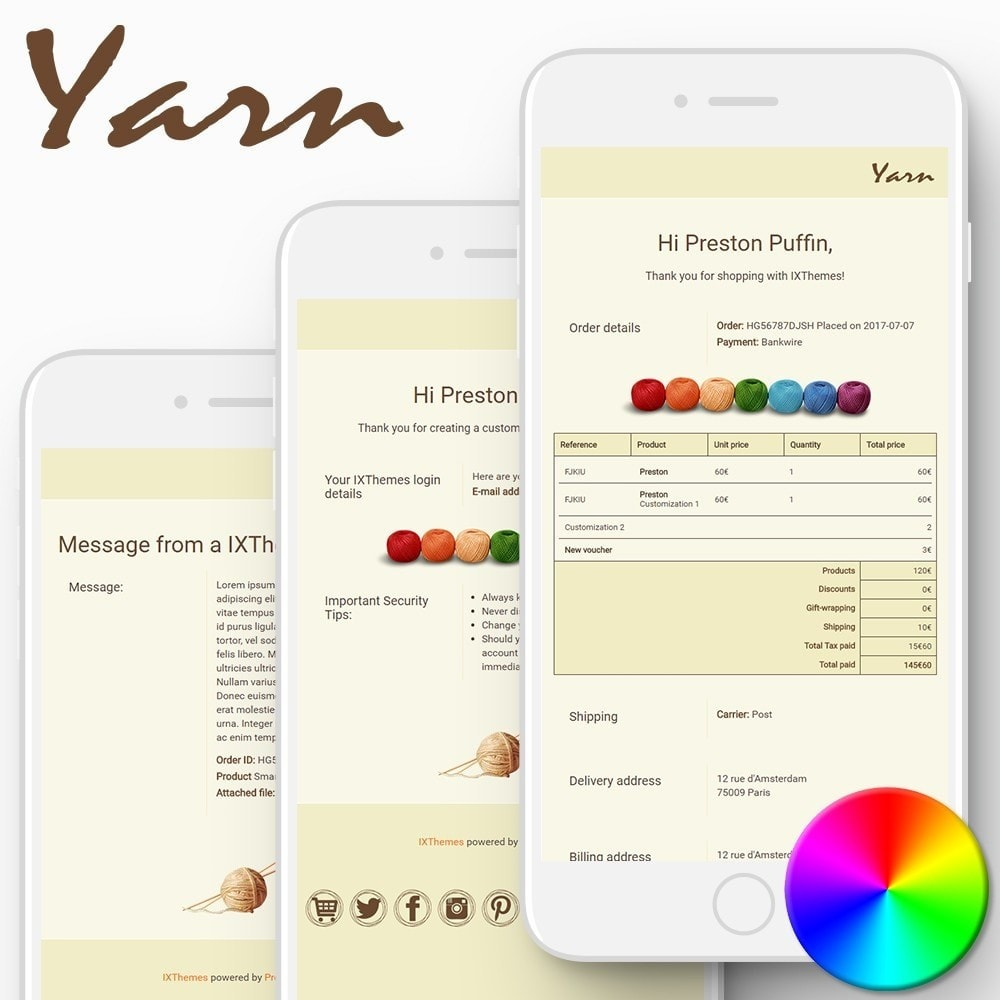 email - Szablony e-mail PrestaShop - Yarn - Email templates - 1