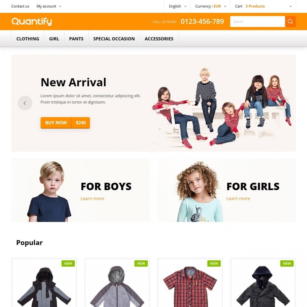 theme - Дети и Игрушки - Quantify - Kids Clothes - 1