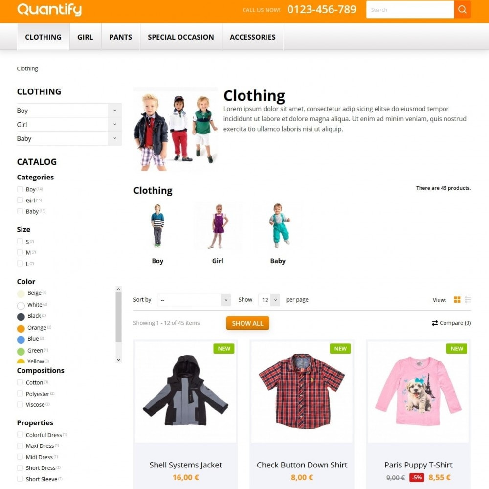 theme - Дети и Игрушки - Quantify - Kids Clothes - 4