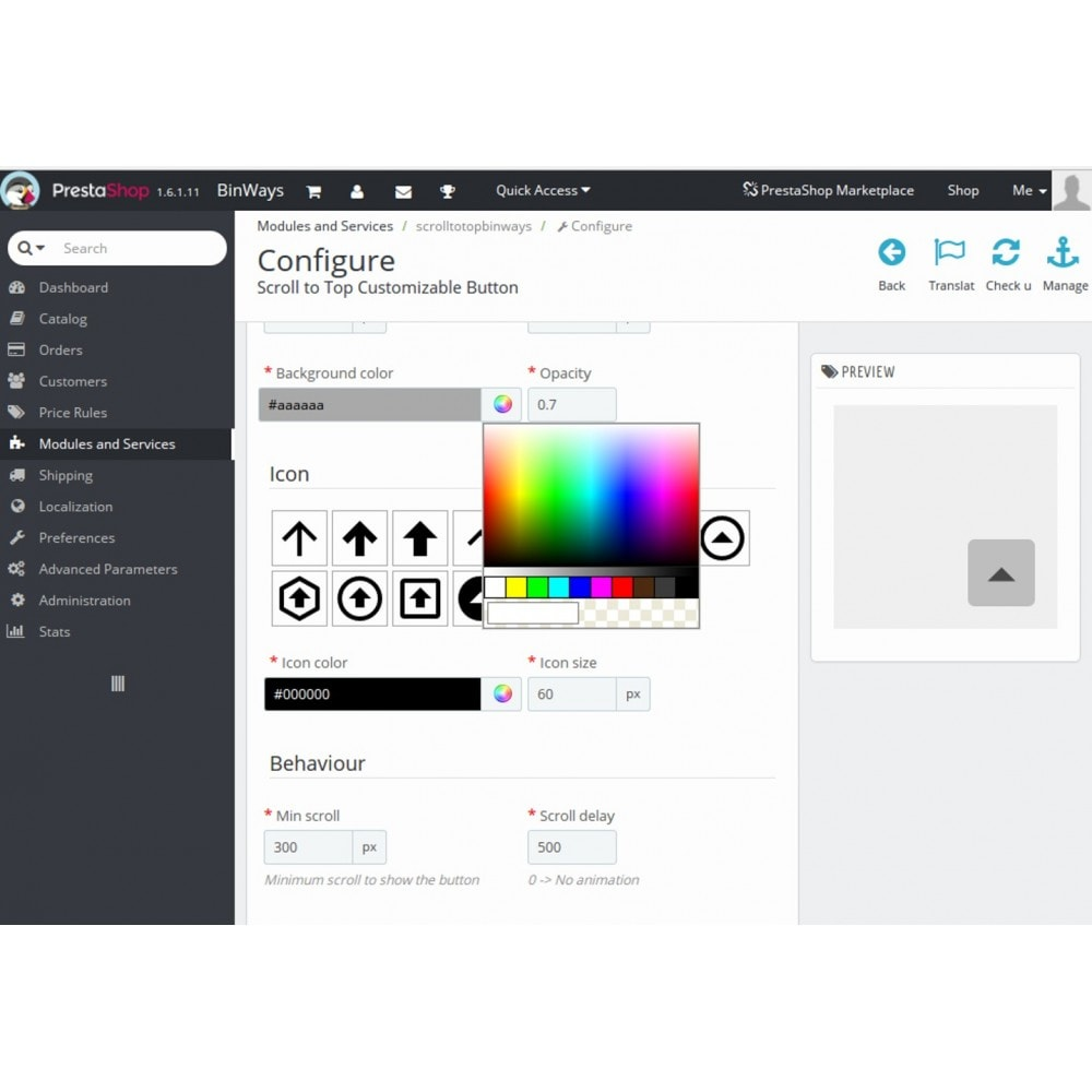 module - Outils de navigation - Scroll to Top Customizable Button - 1