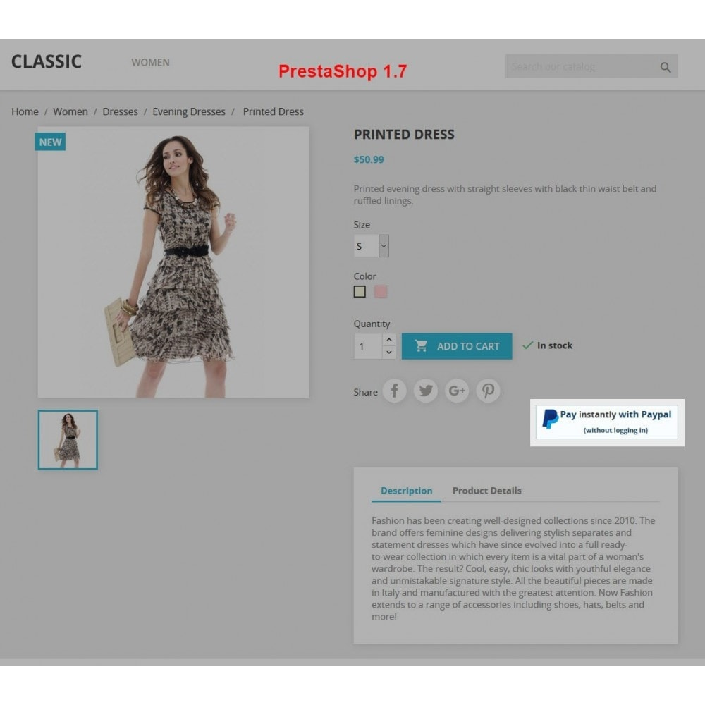 module - Express Checkout Process - Paypal Instant Checkout - 1