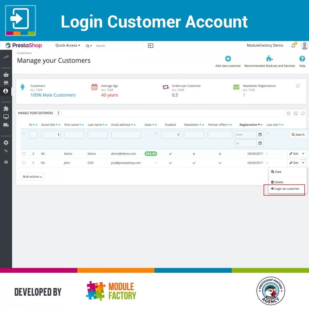 module - Servizio post-vendita - Login Customer Account - 2