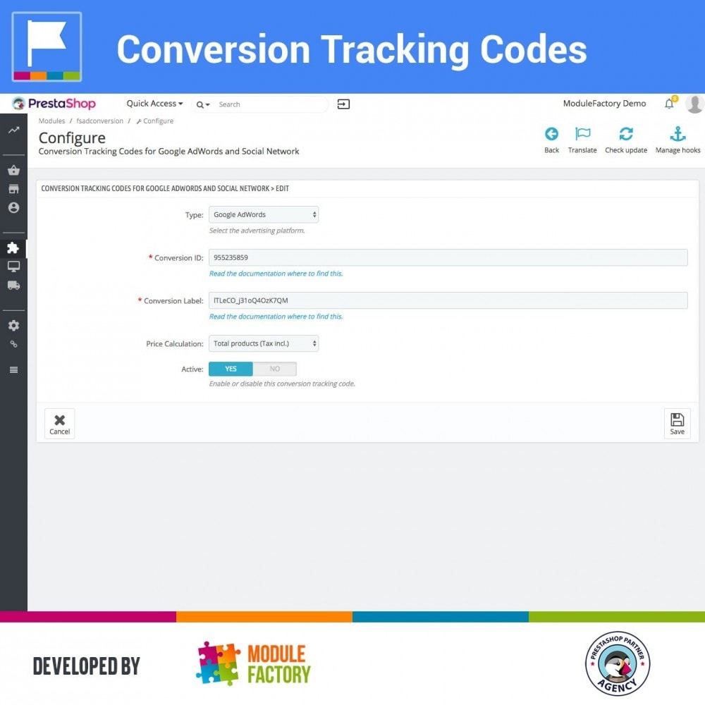 module - Analysen & Statistiken - Conversion Tracking Codes for AdWords and Social - 5