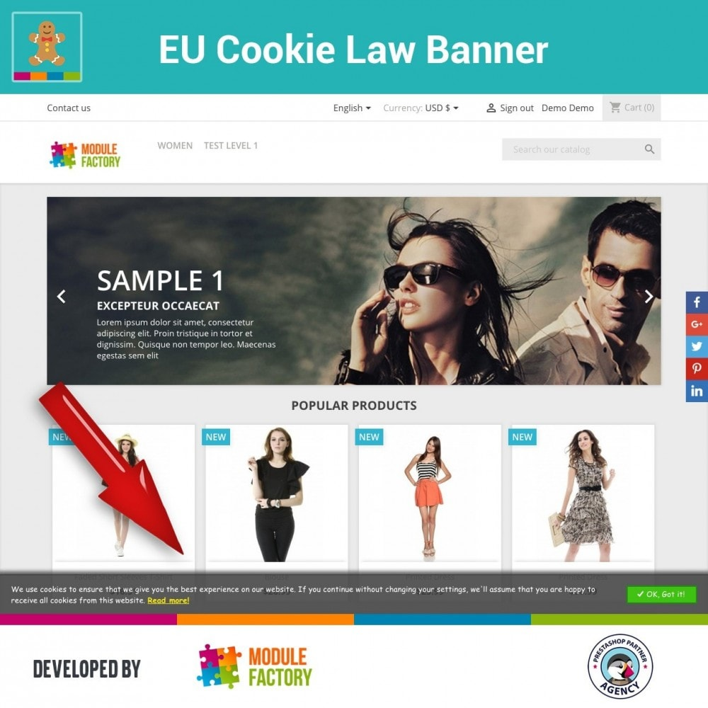 module - Legale (Legge Europea) - EU Cookie Law Alert Banner and Cookie Blocker - 1