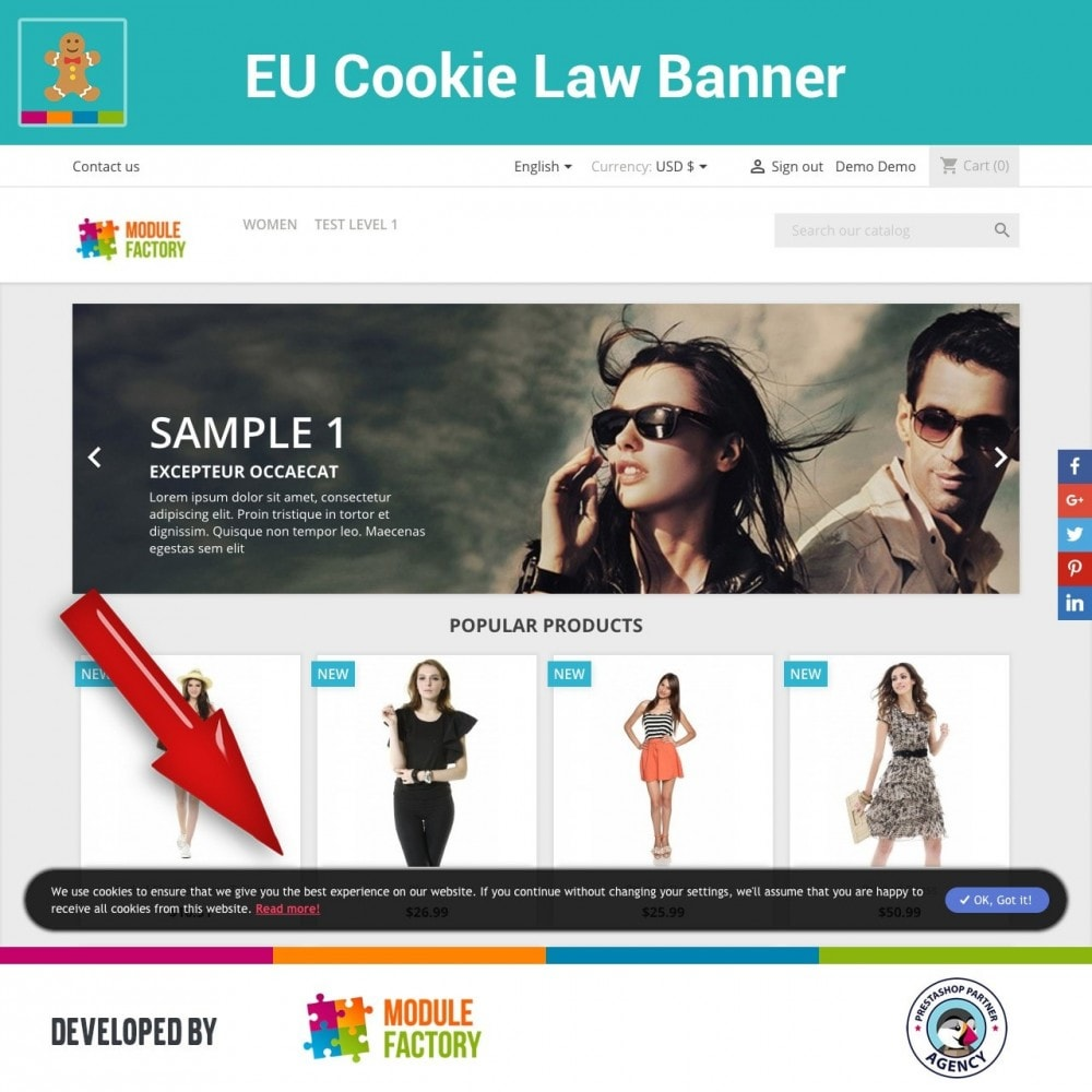 module - Legale (Legge Europea) - EU Cookie Law Alert Banner and Cookie Blocker - 4