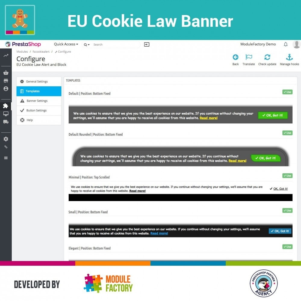 module - Legale (Legge Europea) - EU Cookie Law Alert Banner and Cookie Blocker - 6