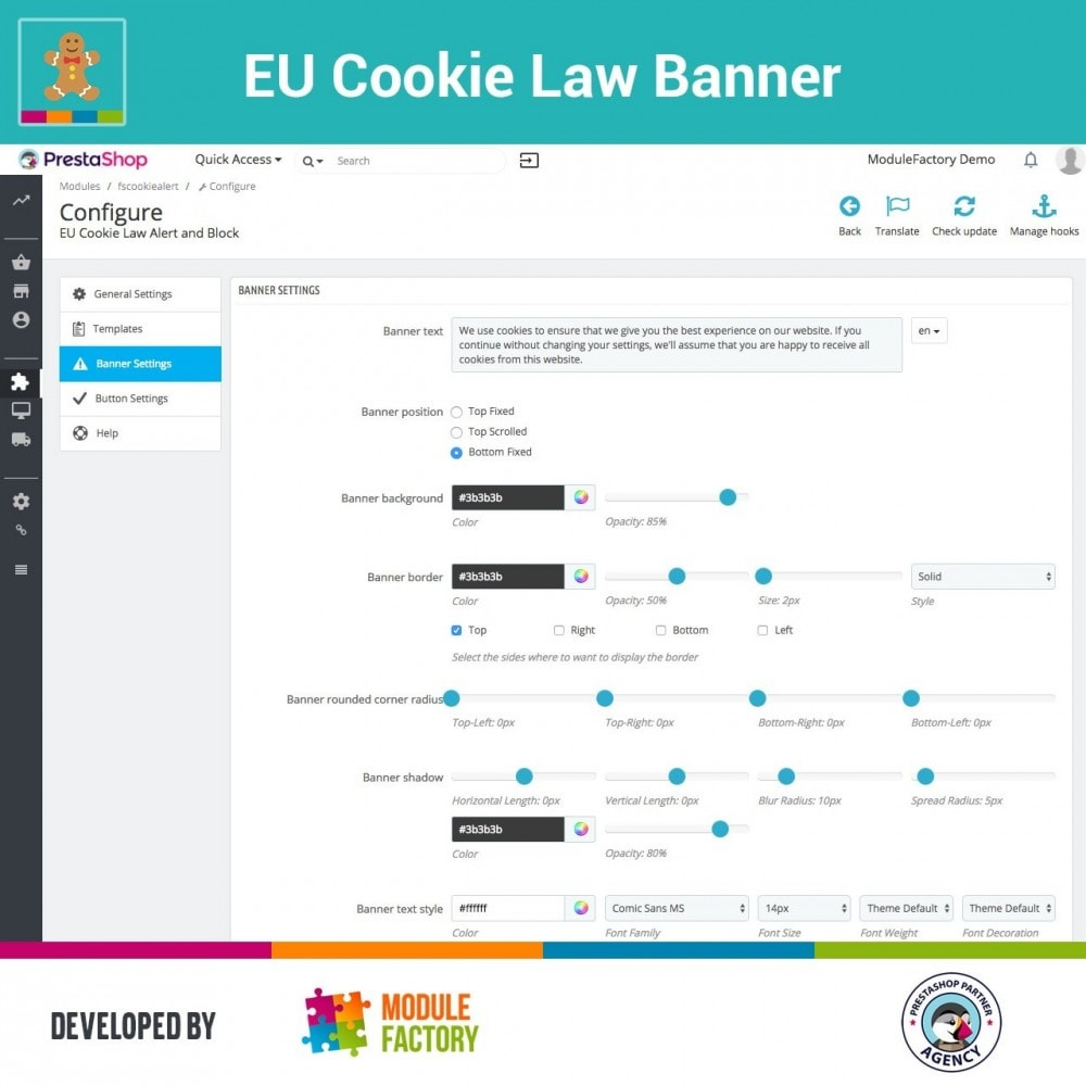 module - Legale (Legge Europea) - EU Cookie Law Alert Banner and Cookie Blocker - 7