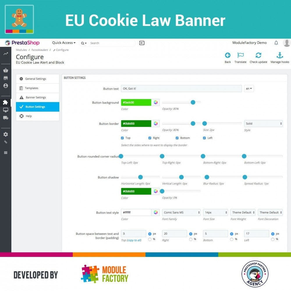 module - Legale (Legge Europea) - EU Cookie Law Alert Banner and Cookie Blocker - 8