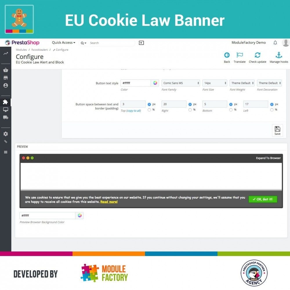module - Legale (Legge Europea) - EU Cookie Law Alert Banner and Cookie Blocker - 9