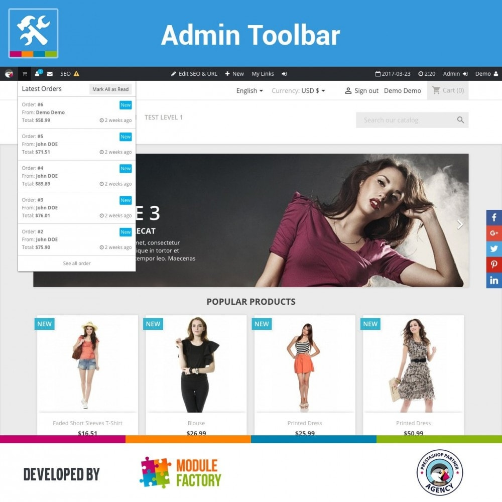 module - Administrative Tools - Admin Toolbar in Front Office - 1