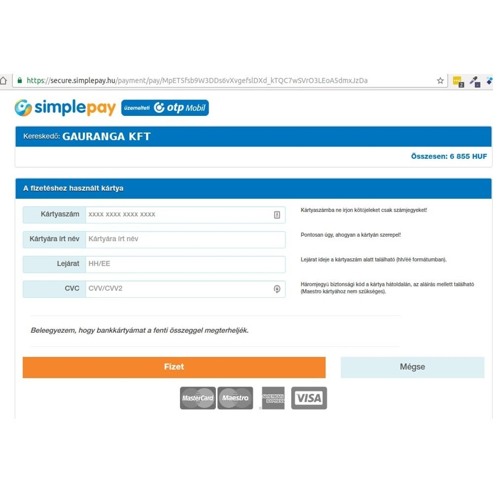 module - Payment by Card or Wallet - SimplePay - 3