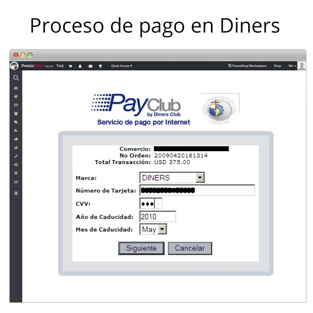 module - Creditcardbetaling of Walletbetaling - Interdin PayClub By Diners Club - 5