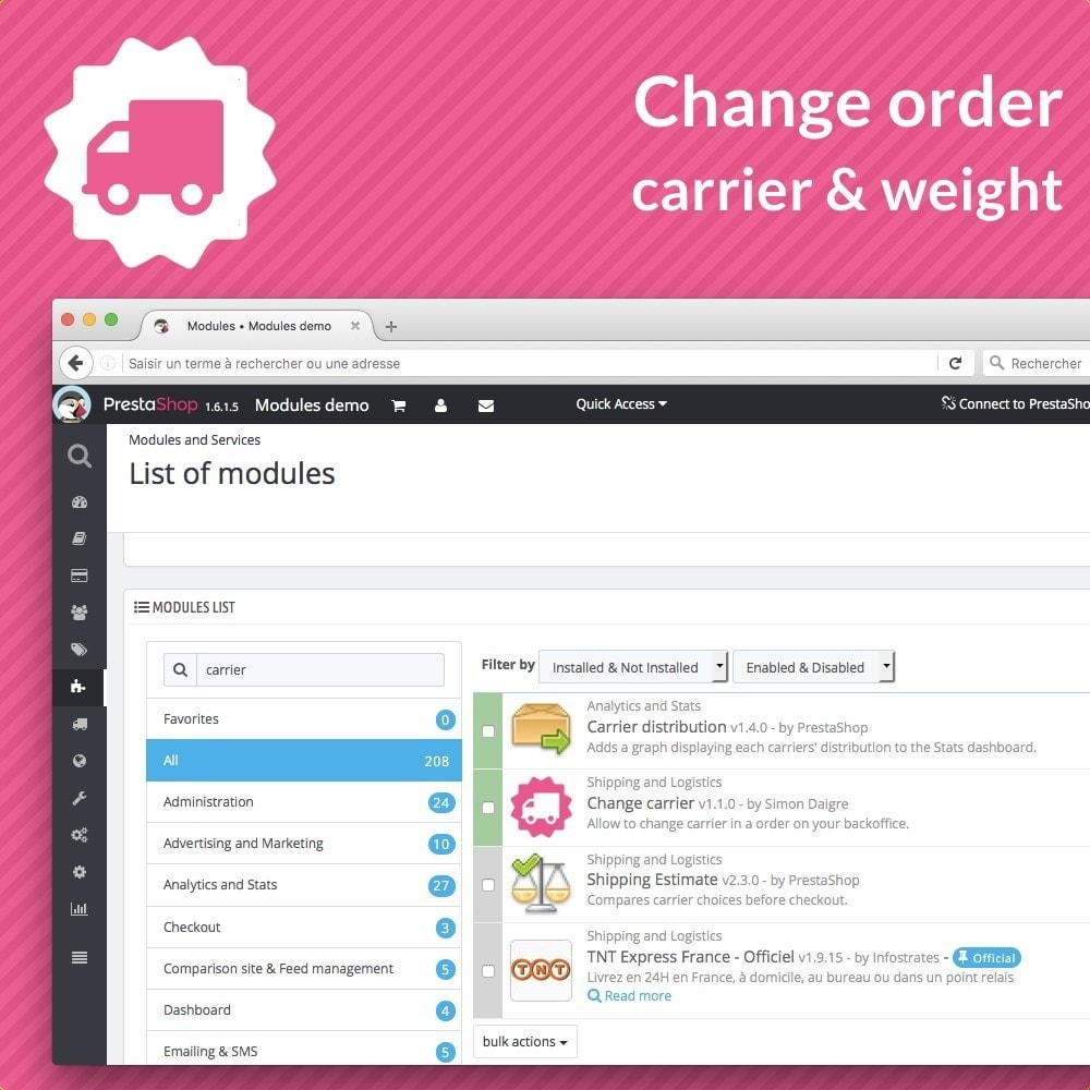 module - Order Management - Change order carrier - 3