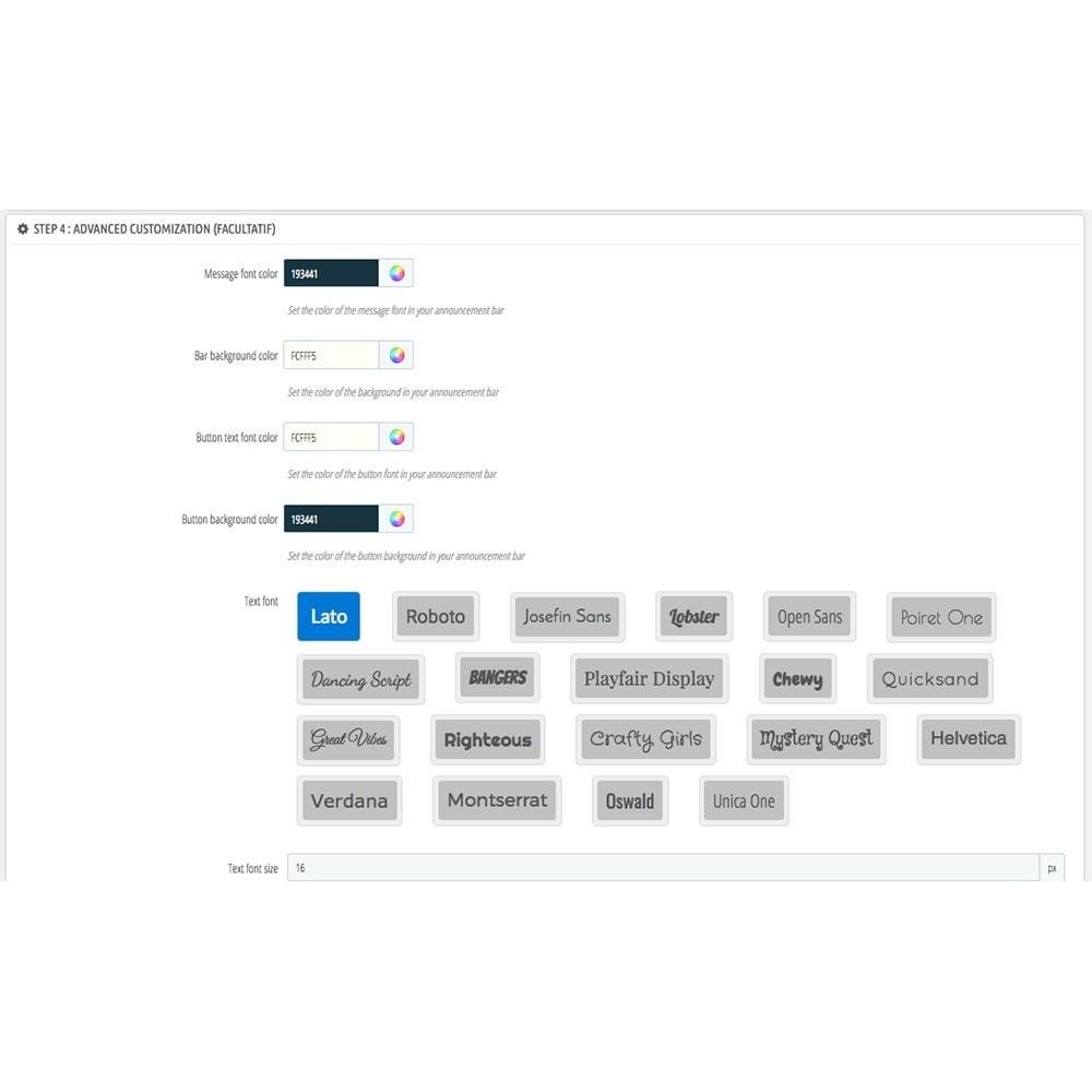 module - Блоки, вкладки и Баннеры - Quick Bar Announcement - 8