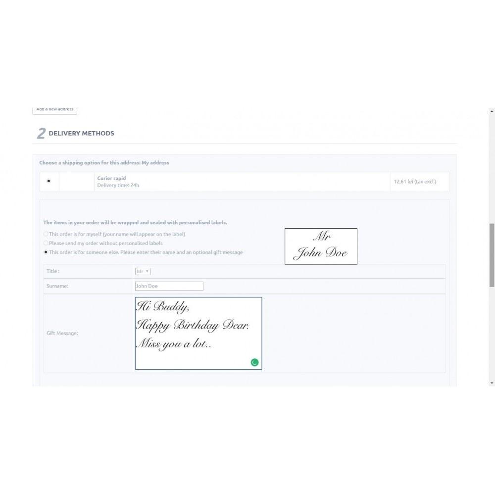 module - Inscripción y Proceso del pedido - Personalised Gift Label - 1