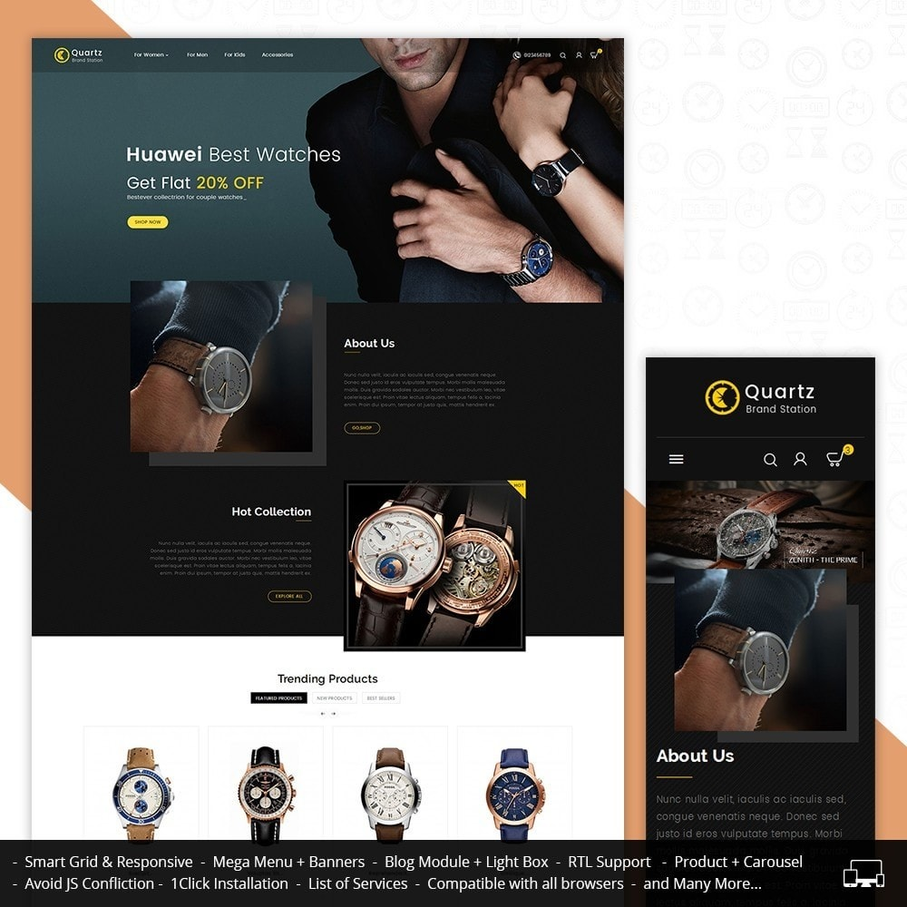 theme - Biżuteria & Akcesoria - Quartz Watch Store - 1