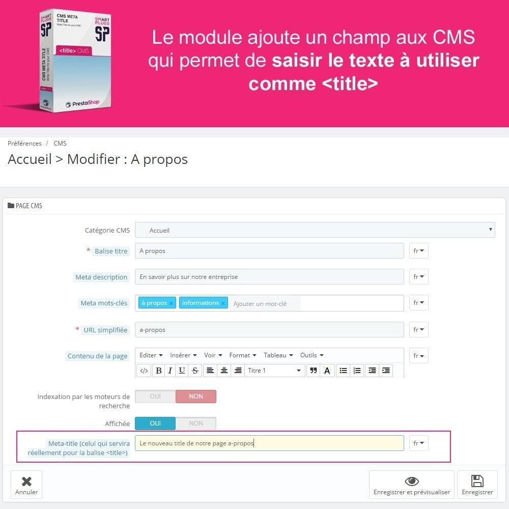 module - SEO (référencement naturel) - CMS meta title, rédigez de vrais title pour les CMS - 2