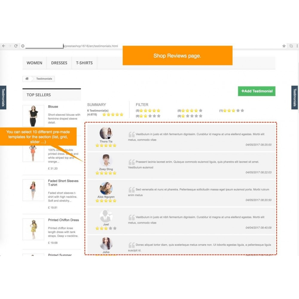 module - Comentarios de clientes - Testimonials and Shop Reviews Pro - 1