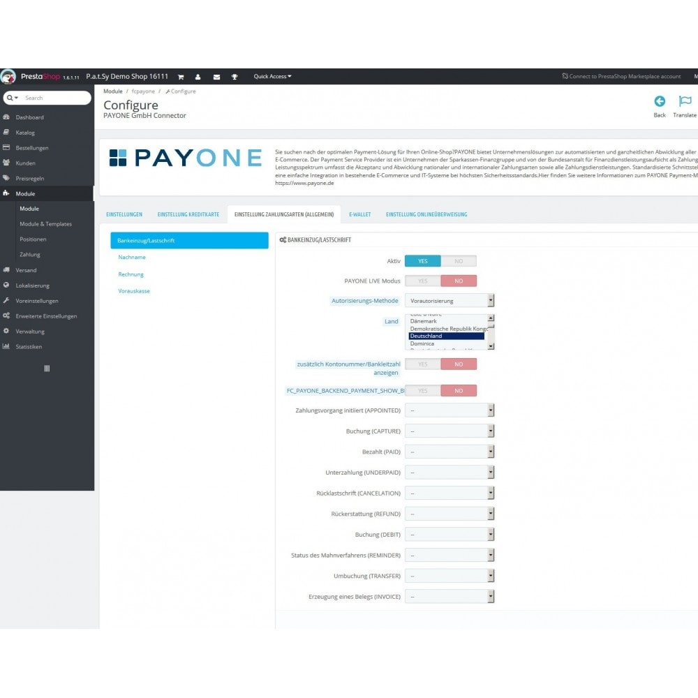 module - Payment by Card or Wallet - BS PAYONE payment official - 2