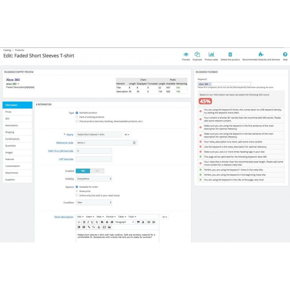 module - SEO (Referenciamento natural) - ReloadSEO - SEO for your store - 1