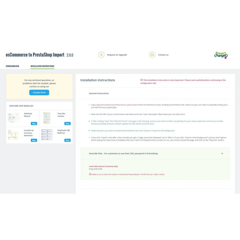module - Migratie & Backup - osCommerce to PrestaShop Migration - 3