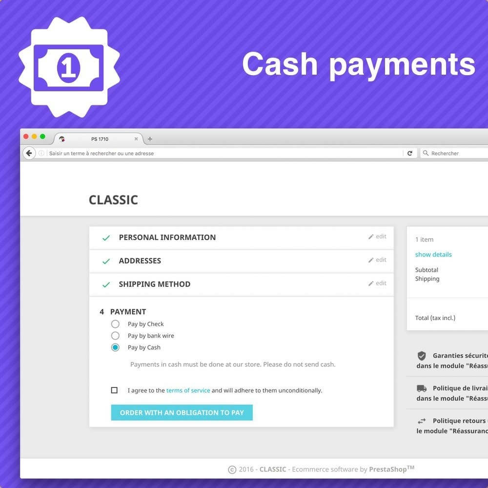 module - Payment in Physical Stores - Cash payment - 1