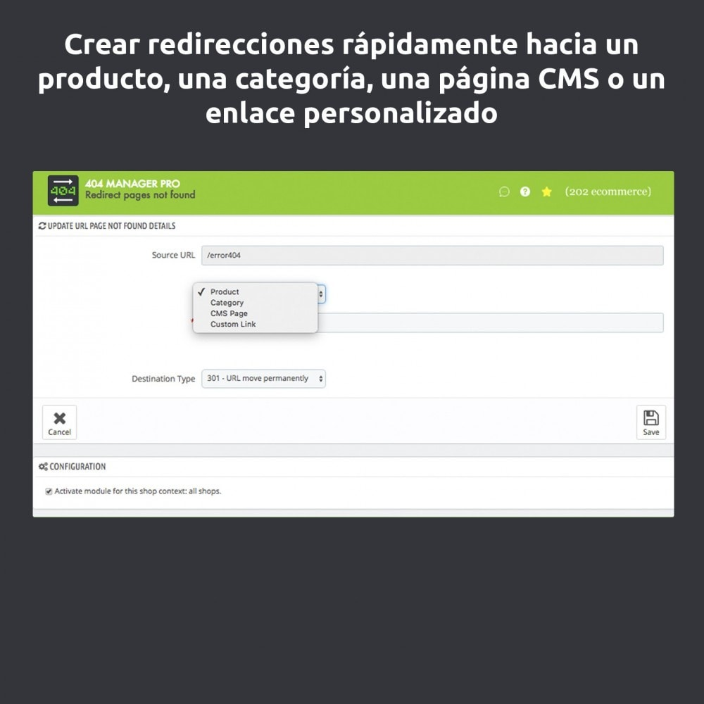 module - URL y Redirecciones - Redirección 404 Manager : Mostrar y redirigir 301,302 - 3