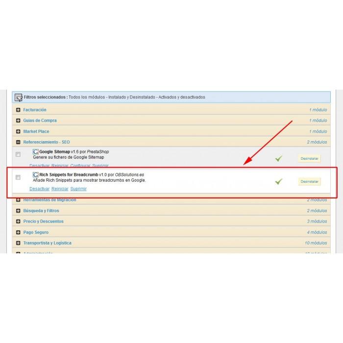 module - SEO (Pozycjonowanie naturalne) - Google Rich Snippets Breadcrumbs [schema.org markup] - 3