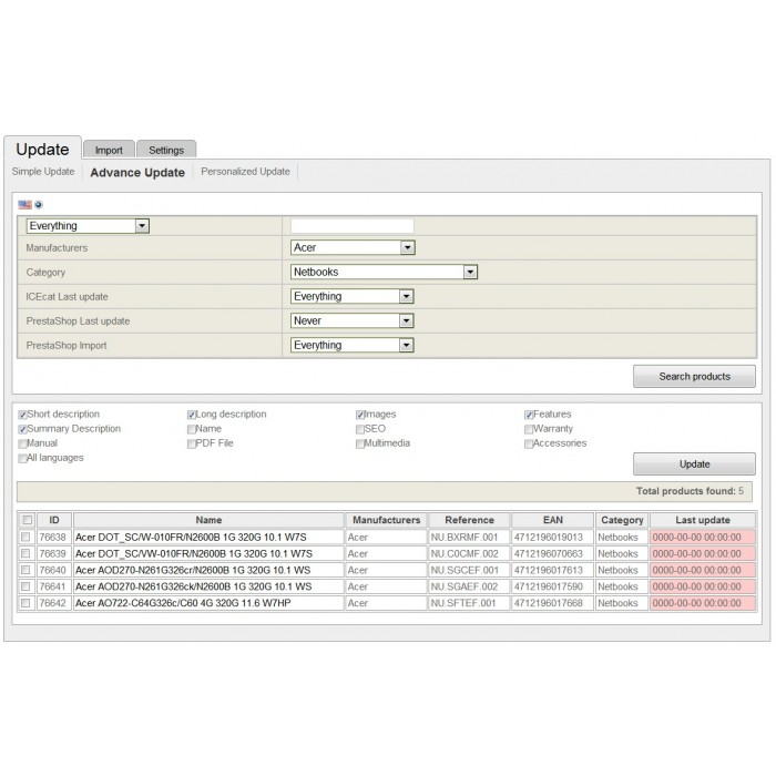 module - Fast & Mass Update - Icecat Integration Solution (WICECAT PRO) - 4