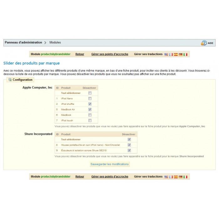 module - Sliders & Galerias - Slider - Products by brand - 5