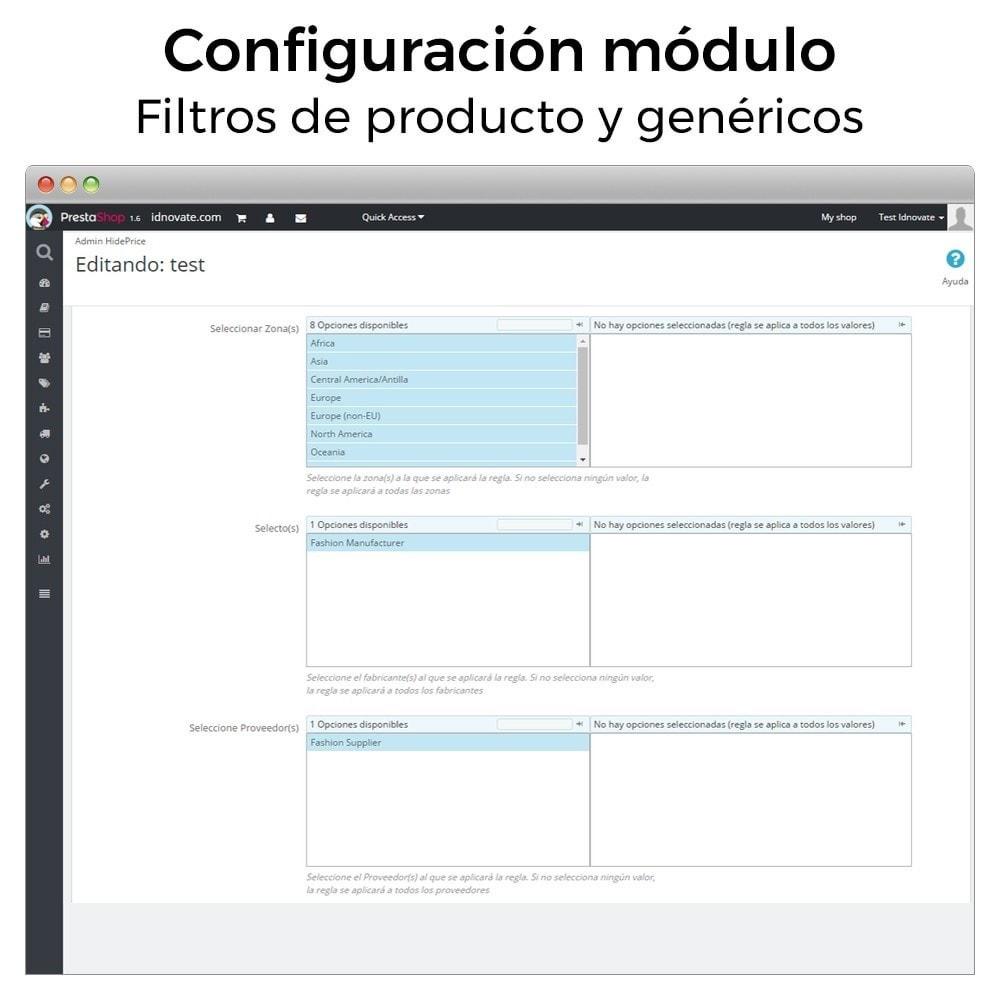 module - Gestión de Precios - Ocultar o mostrar precio y desactivar la compra - 6