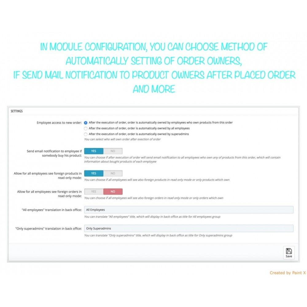 module - Gestion des Commandes - Droits de propriété des employés au produit et au ordre - 2