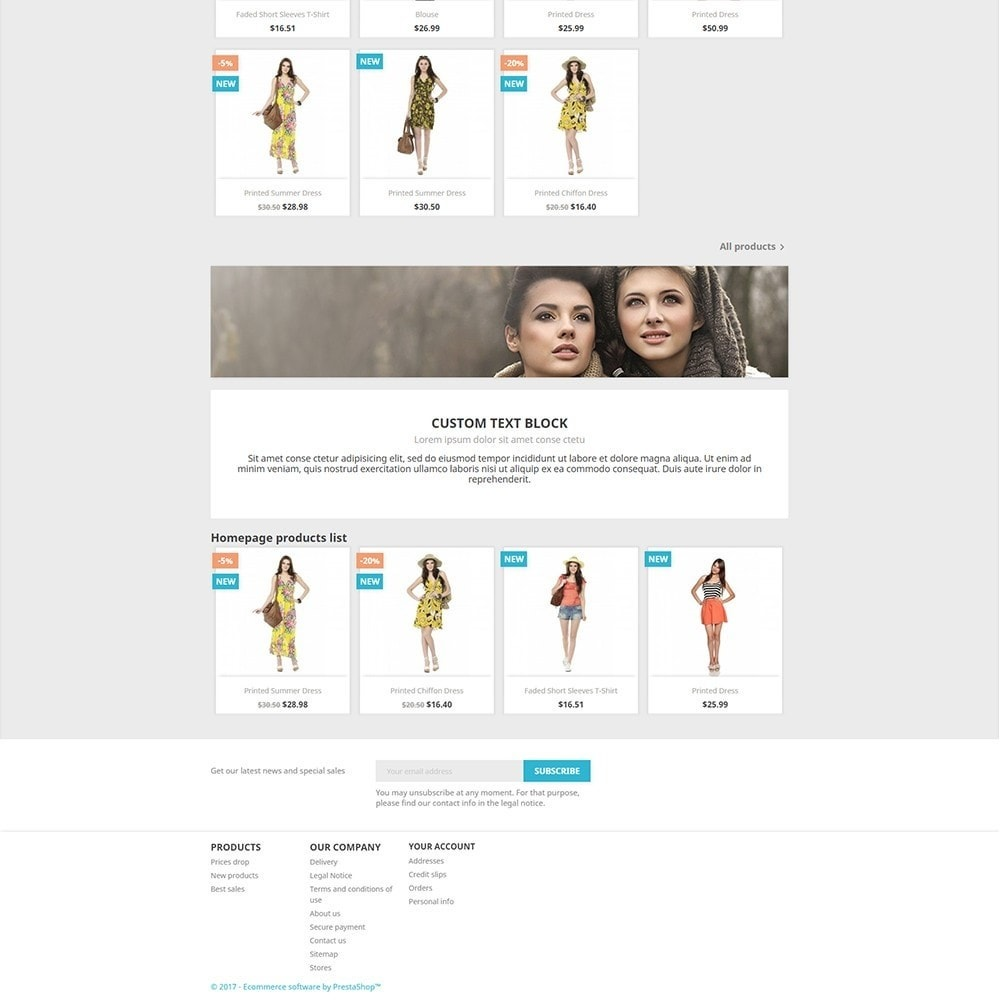 module - управления товарами на стартовой странице - Homepage products - 1