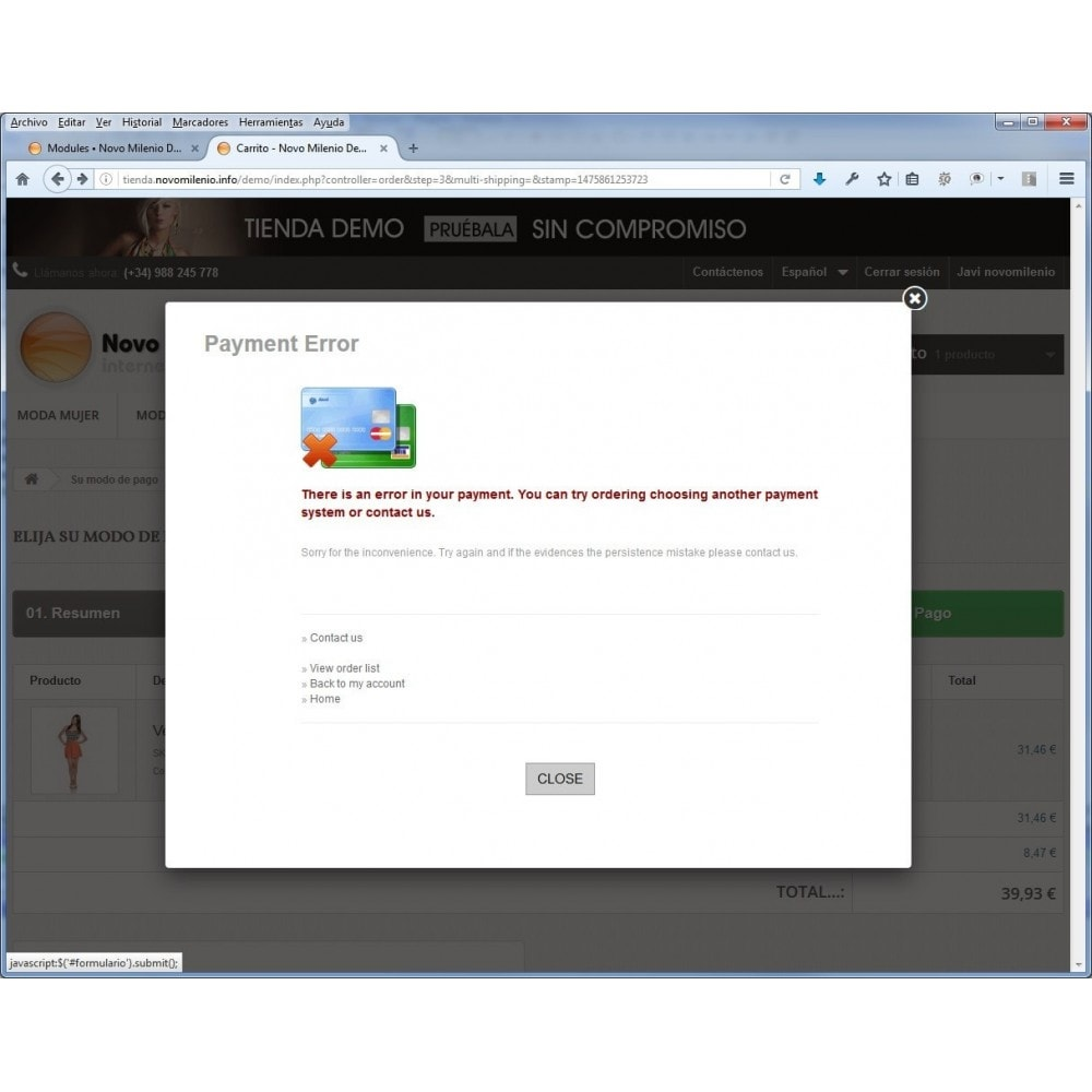 module - Paiement par Carte ou Wallet - CECA TPV PS17+ credit card Secure Pay SHA2 - 5