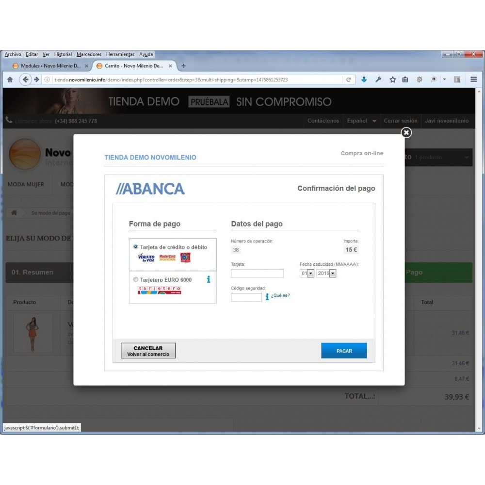 module - Paiement par Carte ou Wallet - CECA TPV PS17+ credit card Secure Pay SHA2 - 2