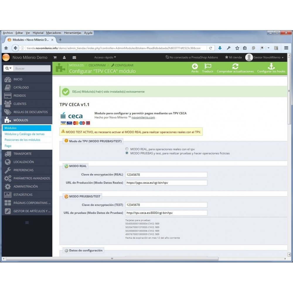 module - Pago con Tarjeta o Carteras digitales - CECA TPV PS17+ Pago seguro con tarjeta de crédito SHA2 - 6