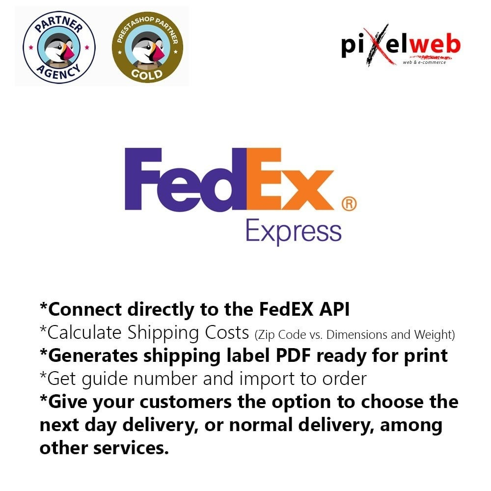 module - Corrieri - FedEx Pro : PDF Label + Shipping Number + Online costs - 1