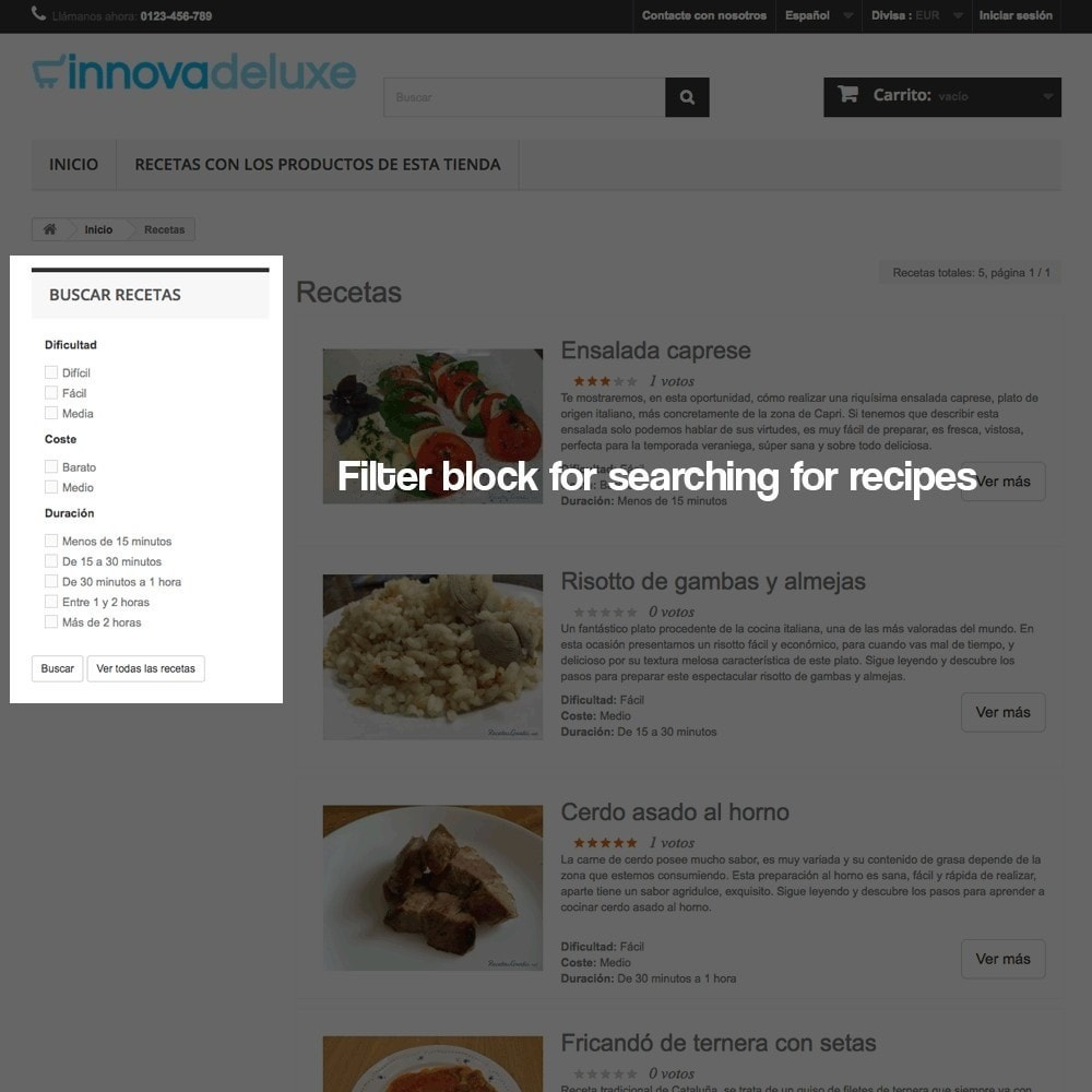module - Blog, Forum & Nieuws - Recipe manager with the products of the store - 7