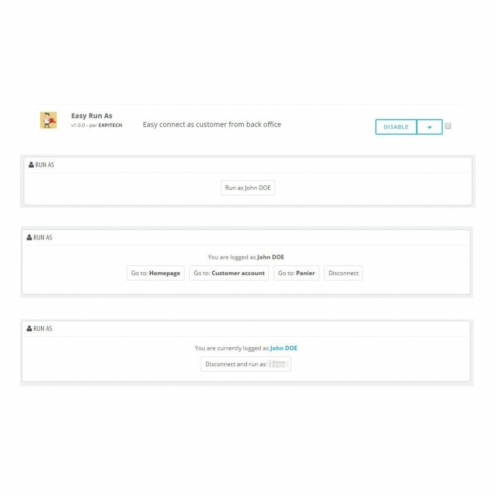 module - Boutons Login & Connect - Easy Run as - Super admin - Se connecter en tant que - 1