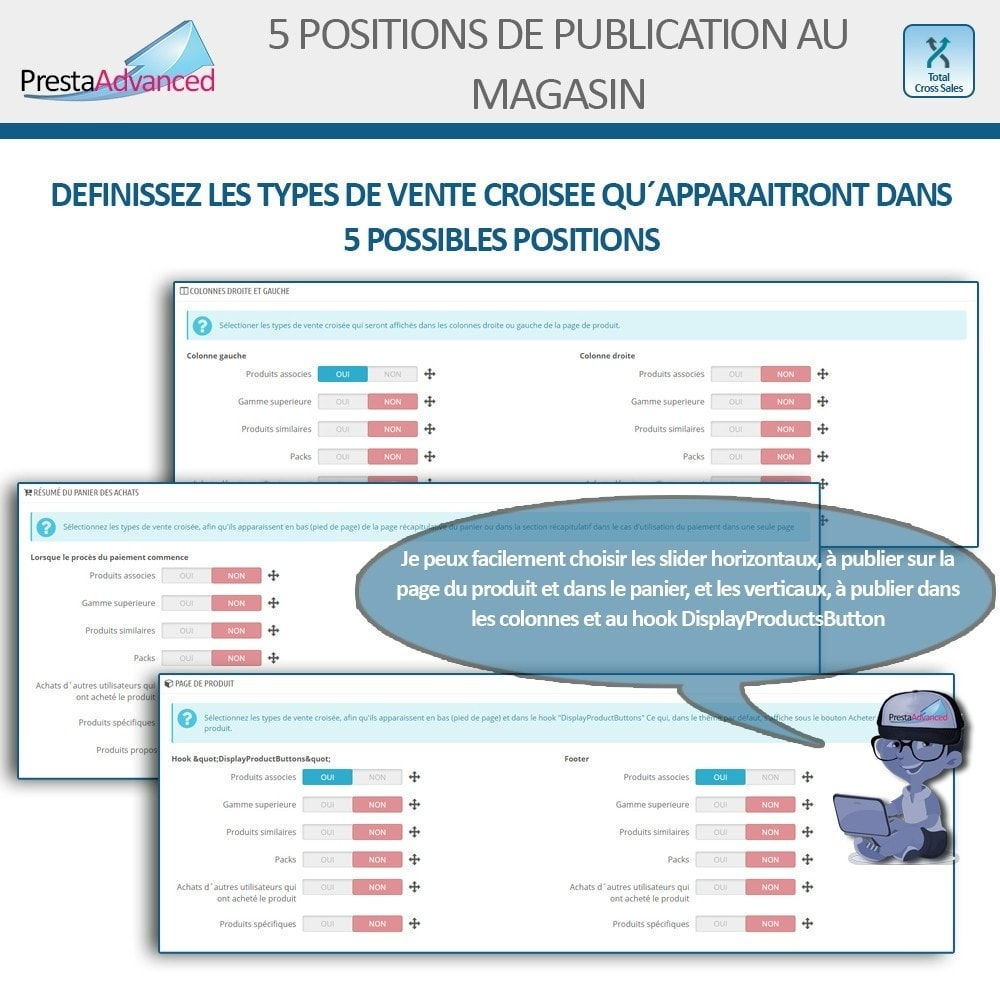 module - Ventes croisées & Packs de produits - Total Cross Sales - Configuration des ventes croisées - 3