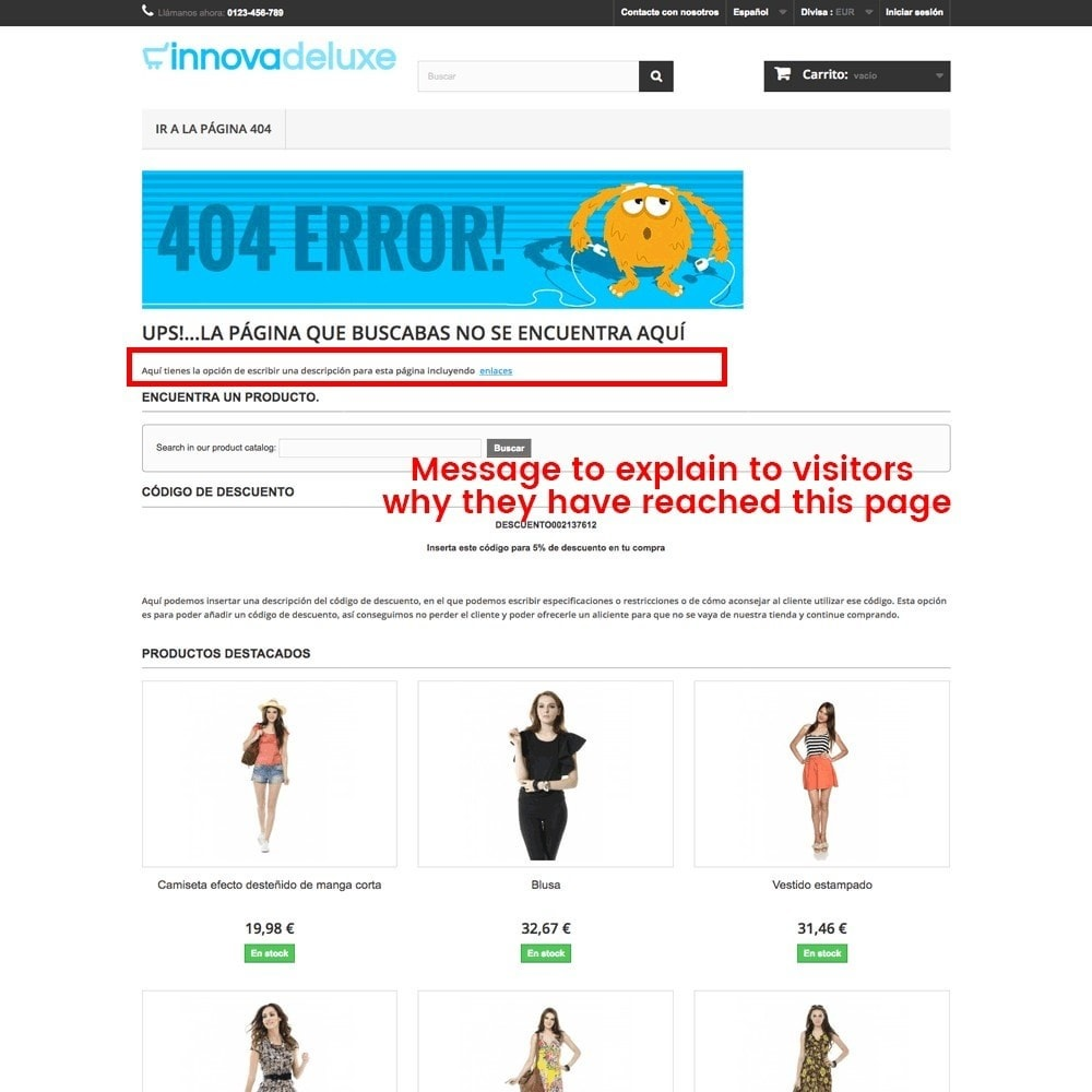 module - URL & Przekierowania - Customization of the 404 error page - 19