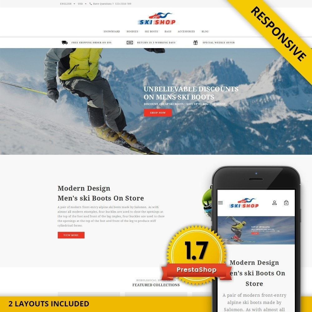 theme - Sports, Activities & Travel - Skishop - Online Ski Store - 1