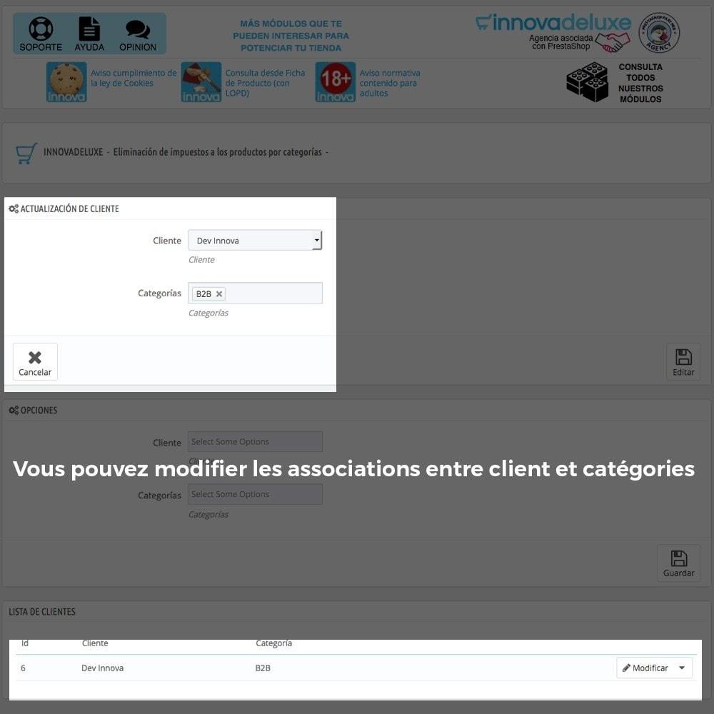 module - B2B - Suppression des taxes (clients/catégories) - 4