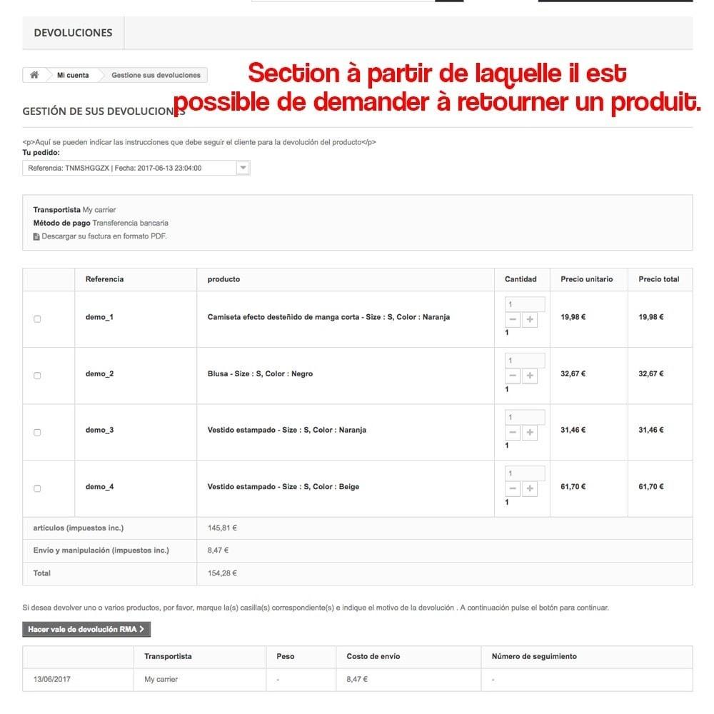 module - Législation - Retour des produits (Loi de défense du Consommateur) - 11