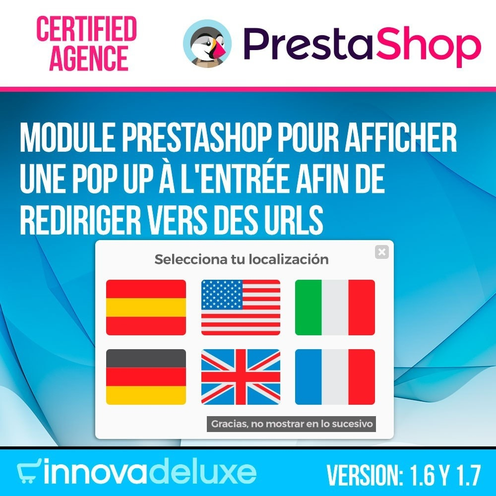 module - URL & Redirections - Pop up avec drapeaux (redirection vers d'autres sites) - 1