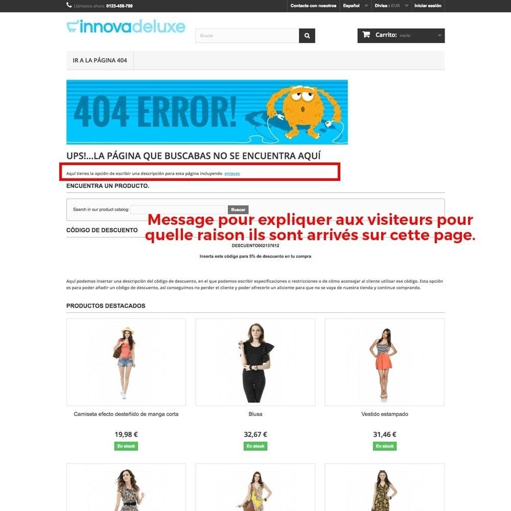 module - URL & Redirections - Personnalisation de la page d'erreur 404 - 19