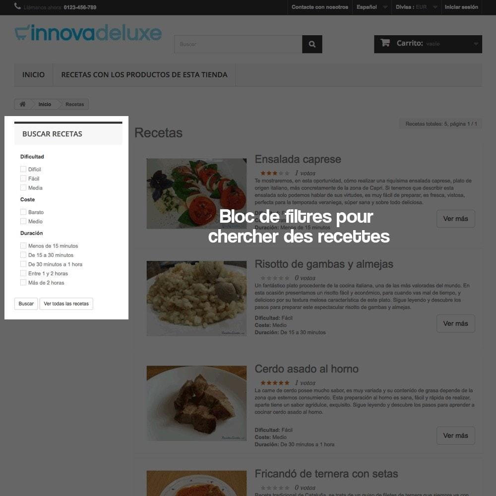 module - Blog, Forum & Actualités - Gestionnaire de recettes avec des produits magasin - 7
