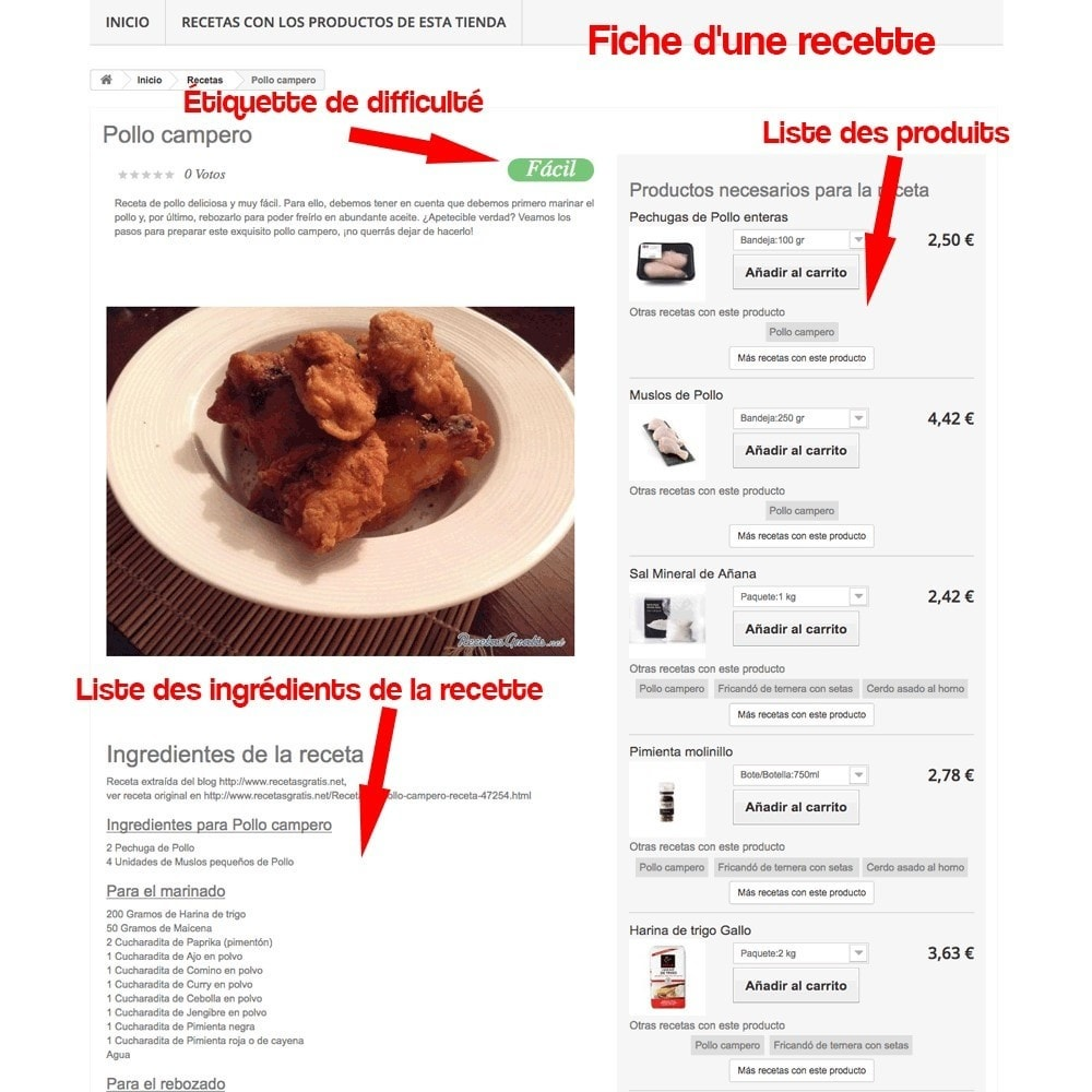 module - Blog, Forum & Actualités - Gestionnaire de recettes avec des produits magasin - 32